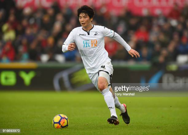 Ki SungYueng of Swansea City during the Premier League match between Swansea City and Burnley at Liberty Stadium on February 10 2018 in Swansea Wales