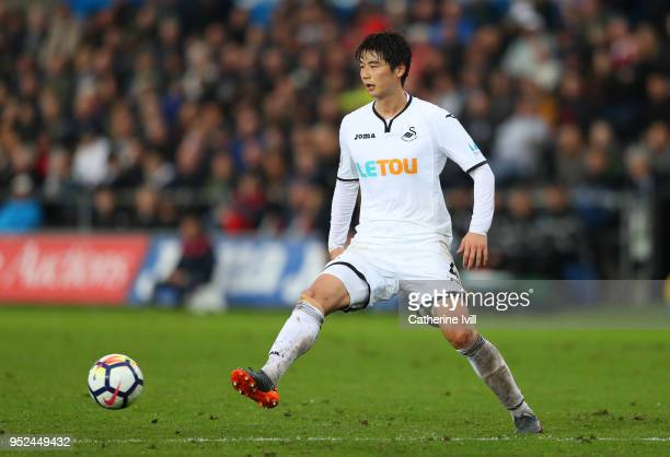 Ki SungYueng of Swansea City during the Premier League match between Swansea City and Chelsea at Liberty Stadium on April 28 2018 in Swansea Wales