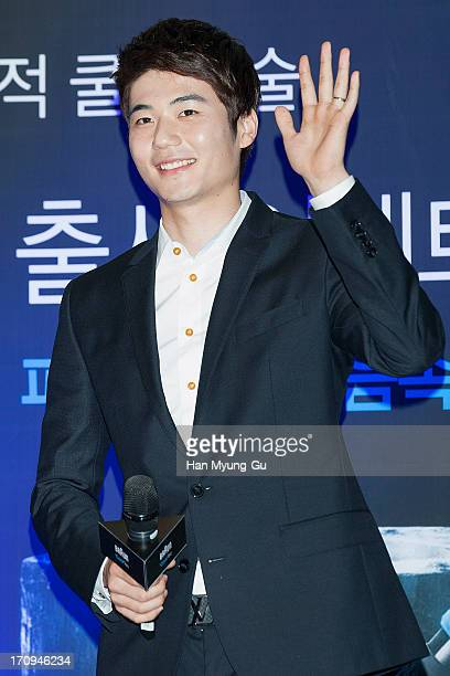 Ki SungYueng of Swansea City poses for media during a promotional event for the 'Braun' CoolTec at Times Square on June 20 2013 in Seoul South Korea