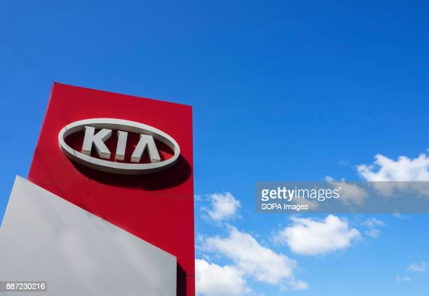 Kia automobile dealership Sign. Kia is a South Korean manufacturer of automobiles and commercial vehicles.