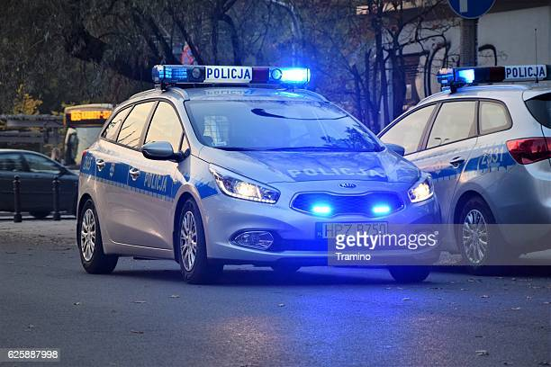 kia cee'd sw police car on the street - polish culture stock pictures, royalty-free photos & images