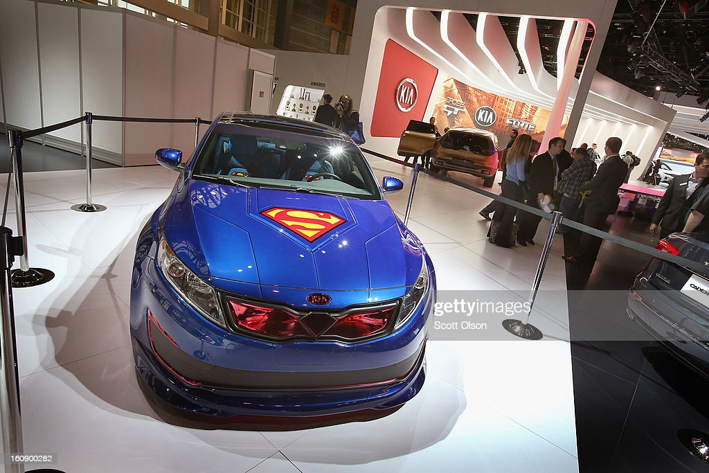 Kia displays the DC Comics Superman Edition Optima Hybrid at the Chicago Auto Show on February 7, 2013 in Chicago, Illinois. The Chicago Auto Show, one of the oldest and largest in the country, will be open to the public February 9-18.
