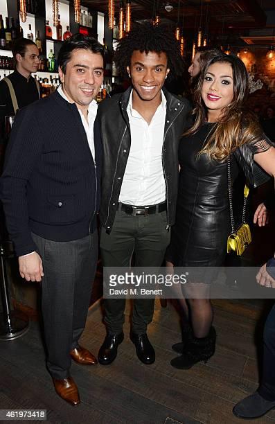 Kia Joorabchian, Willian Borges da Silva and Vanessa Martins attend the Jinjuu launch dinner, Kingly Street at Jinjuu on January 22, 2015 in London,...