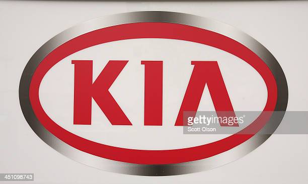 Kia logo is displayed at the entrance of Bob Rohrman Schaumburg KIA on November 21 2013 in Schaumburg Illinois Kia Motors announced a recall of 80000...