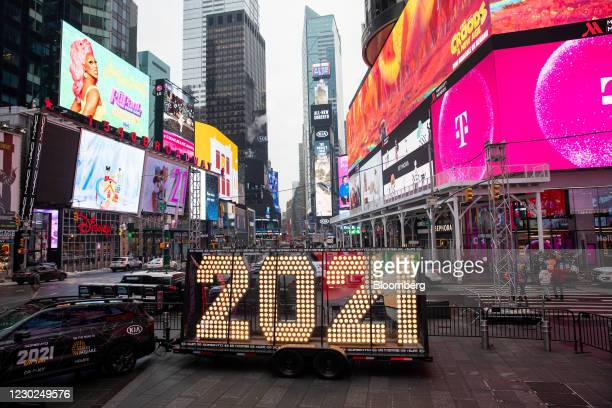 "Kia Motors Corp. Sports utility vehicle delivers the ""2021"" New Year's Eve numerals during a coast-to-coast tour in the Times Square neighborhood of..."