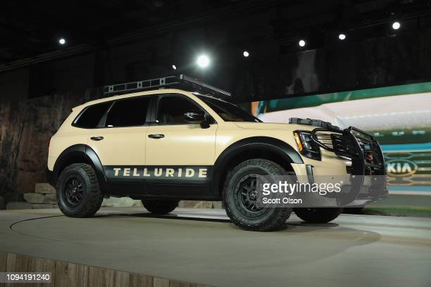 Kia Motors introduces the 2020 Kia Telluride SUV at the North American International Auto Show at the Cobo Center on January 14 2019 in Detroit...