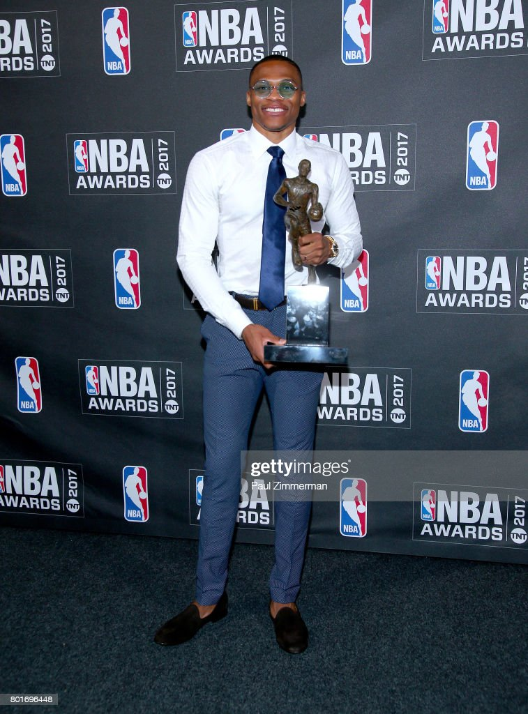 Kia NBA Most Valuable Player, Best Style & Game Winner Award winner, Russell Westbrook poses in te press room at Basketball City - Pier 36 - South Street on June 26, 2017 in New York City.