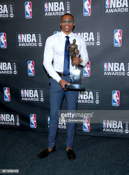 Kia NBA Most Valuable Player Best Style Game Winner Award winner Russell Westbrook poses in te press room at Basketball City Pier 36 South Street on...