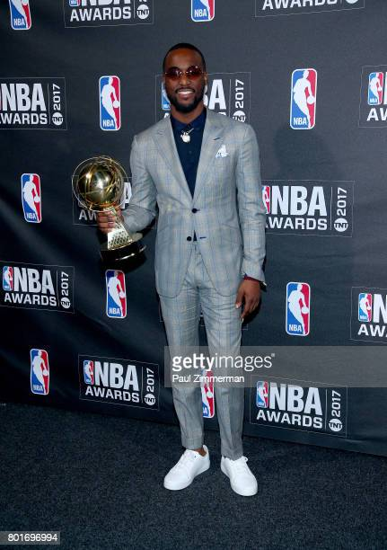 Kia NBA Sportsmanship Award winner Kemba Walker poses in the press room at the 2017 NBA Awards Basketball City Pier 36 South Street on June 26 2017...
