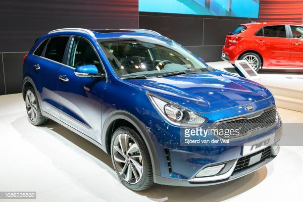 Kia Niro hybrid crossover SUV on display at Brussels Expo on January 13, 2017 in Brussels, Belgium. The Kia Niro is fitted with a 1.6l petrol engine...