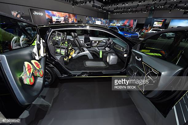 Kia Niro Triathlete Inspired autonomous concept car with a shower head in the passenger door is on display during media preview days ahead of the...