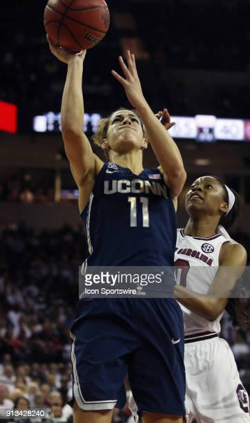 Kia Nurse guard of the UConn Huskies during the UConn Huskies game versus the South Carolina Lady Gamecocks on February 1 at the Colonial Life Arena...