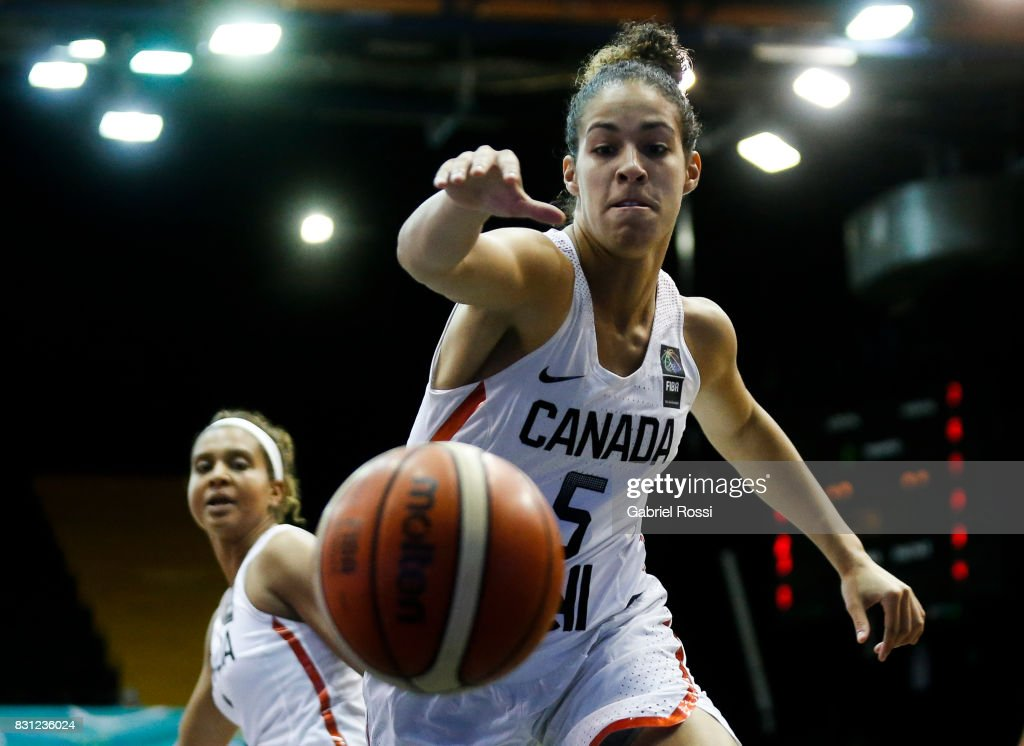 Kia Nurse of Canada in action during a match between Canada and Brazil as part of the FIBA Women's AmeriCup Semi Final at Obras Sanitarias Stadium on August 12, 2017 in Buenos Aires, Argentina.
