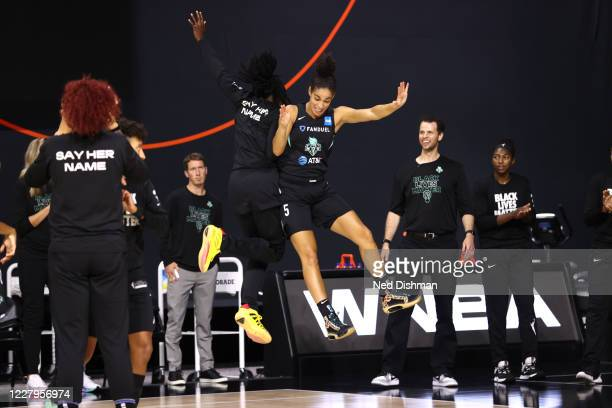 Kia Nurse of New York Liberty gets introduced before the game on August 7, 2020 at the Feld Entertainment Center, in Palmetto, Florida. NOTE TO USER:...