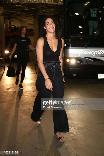 Kia Nurse of the New York Liberty arrives before the game against the Minnesota Lynx on June 22, 2019 at the Target Center in Minneapolis, Minnesota...