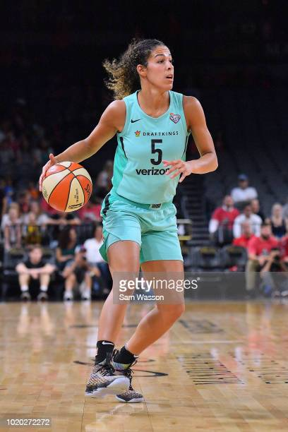 Kia Nurse of the New York Liberty dribbles against the Las Vegas Aces at the Mandalay Bay Events Center on August 15 2018 in Las Vegas Nevada NOTE TO...