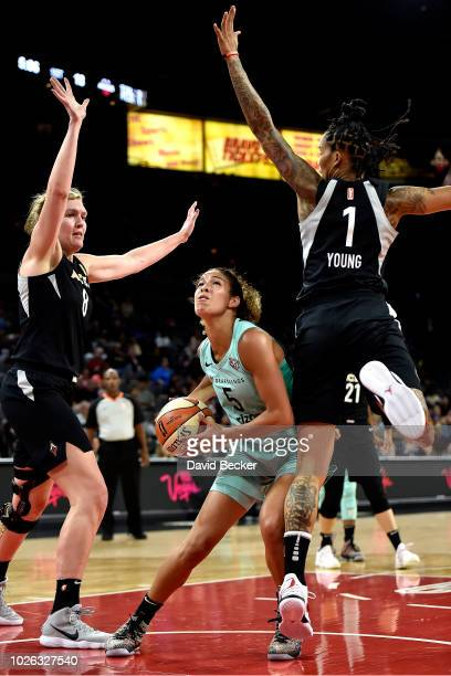 Kia Nurse of the New York Liberty handles the ball against the Las Vegas Aces on August 15 2018 at the Allstate Arena in Chicago Illinois NOTE TO...