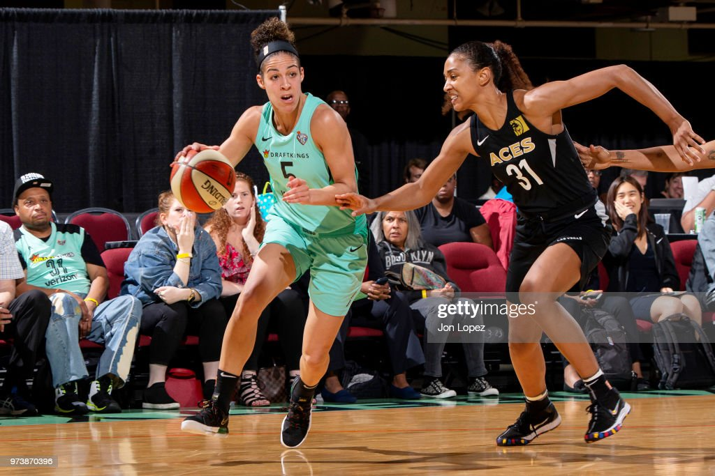Kia Nurse #5 of the New York Liberty handles the ball against the Las Vegas Aces on June 13, 2018 at Westchester County Center in White Plains, New York.