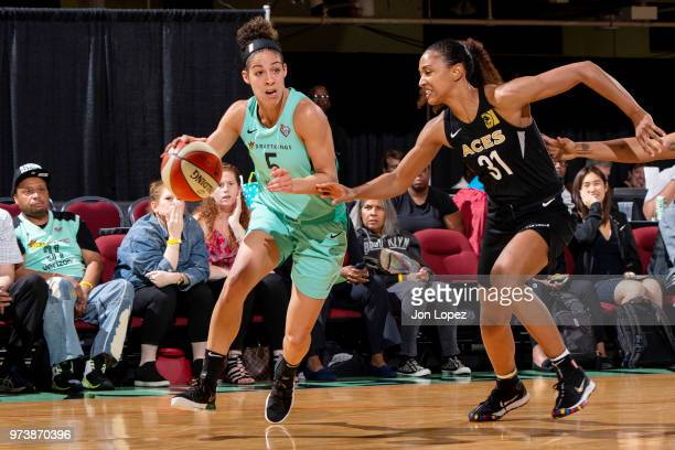 Kia Nurse of the New York Liberty handles the ball against the Las Vegas Aces on June 13 2018 at Westchester County Center in White Plains New York...
