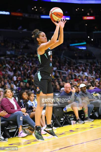 Kia Nurse of the New York Liberty handles the ball against the Los Angeles Sparks during a WNBA basketball game at Staples Center on June 15, 2019 in...
