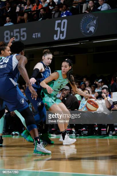 Kia Nurse of the New York Liberty handles the ball against the Minnesota Lynx on May 25 2018 at Westchester County Center in White Plains New York...