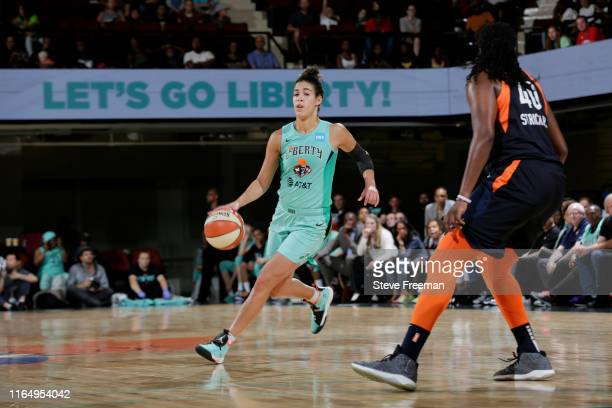Kia Nurse of the New York Liberty handles the ball against the Connecticut Sun on August 30, 2019 at the Westchester County Center, in White Plains,...