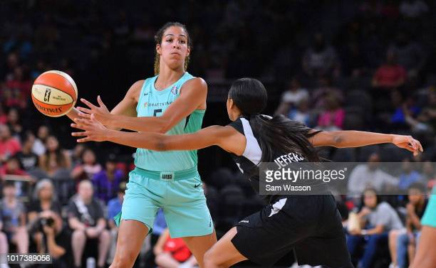 Kia Nurse of the New York Liberty looks to pass against Moriah Jefferson of the Las Vegas Aces at the Mandalay Bay Events Center on August 15 2018 in...