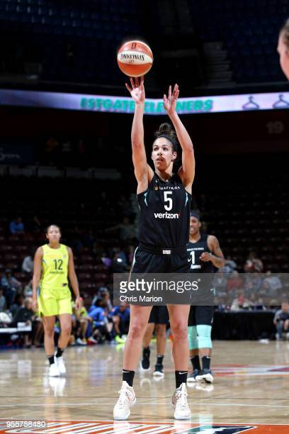 Kia Nurse of the New York Liberty shoots a free throw against the Dallas Wings during a preseason game on May 7 2018 at Mohegan Sun Arena in...