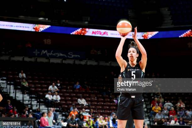 Kia Nurse of the New York Liberty shoots a free throw against the Dallas Wings during the preseason game on May 7 2018 at Mohegan Sun Arena in...
