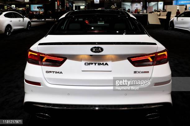 """Kia Optima is on display at the 111th Annual Chicago Auto Show at McCormick Place in Chicago, Illinois on February 8, 2019. """"n"""
