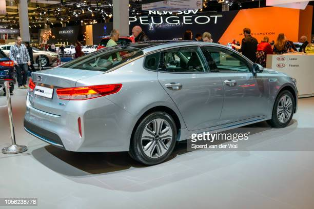 Kia Optima sedan on display at Brussels Expo on January 13 2017 in Brussels Belgium The fourth generation of the Kia Optima is available as 4door...