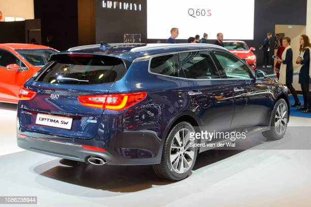 Kia Optima SW station wagon rear view on display at Brussels Expo on January 13 2017 in Brussels Belgium The fourth generation of the Kia Optima is...