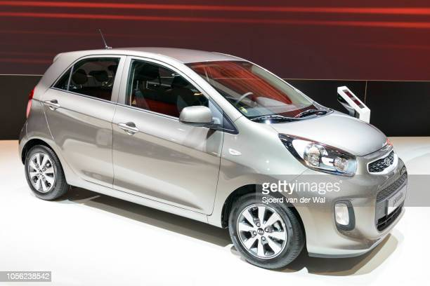 Kia Picanto compact city car on display at Brussels Expo on January 13 2017 in Brussels Belgium The second generation Kia Picanto is available as 3...