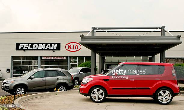 Kia Soul, right, and Kia Sorrento are parked outside the Feldman Kia dealership in Farmington, Michigan, U.S., on Monday, May 31, 2010. This...