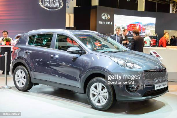 Kia Sportage compact sports utility vehicle on display at Brussels Expo on January 13, 2017 in Brussels, Belgium. The fourth generation ofthe Kia...