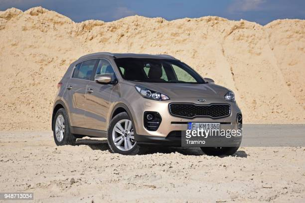 kia sportage on the unmade road - kia stock pictures, royalty-free photos & images