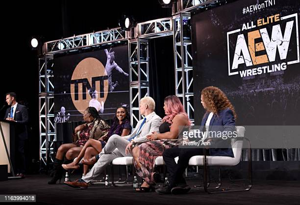 Kia Stevens aka Awesome Kong Brandi Rhodes Cody Rhodes Nyla Rose and Jack Perry aka Jungle Boy speak onstage at the All Elite Wrestling panel during...