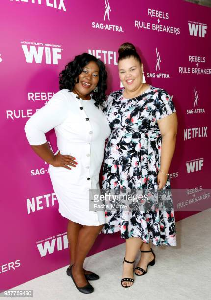 Kia Stevens and Britney Young attend the Rebels and Rule Breakers Panel at Netflix FYSEE at Raleigh Studios on May 12 2018 in Los Angeles California