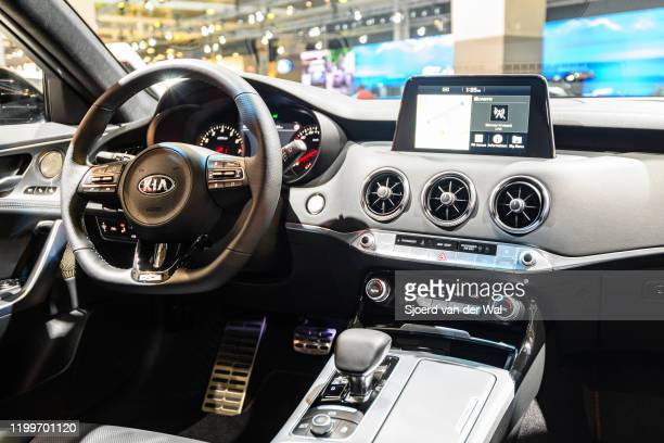 Kia Stinger compact executive 4-door fastback interior on display at Brussels Expo on January 9, 2020 in Brussels, Belgium. The Stinger available...