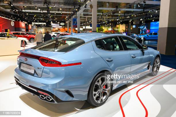 Kia Stinger compact executive 4-door fastback on display at Brussels Expo on January 9, 2020 in Brussels, Belgium. The Stinger available with various...