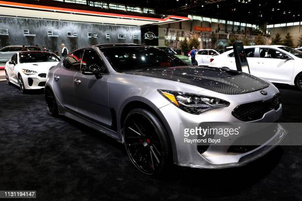 Kia Stinger is on display at the 111th Annual Chicago Auto Show at McCormick Place in Chicago, Illinois on February 8, 2019.