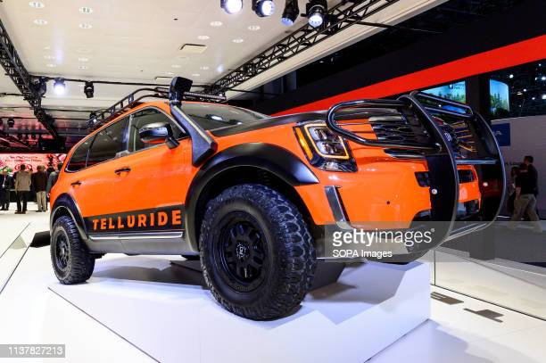 Kia Telluride seen at the New York International Auto Show at the Jacob K Javits Convention Center in New York