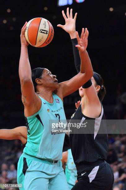 Kia Vaughn of the New York Liberty shoots against JiSu Park of the Las Vegas Aces at the Mandalay Bay Events Center on August 15 2018 in Las Vegas...