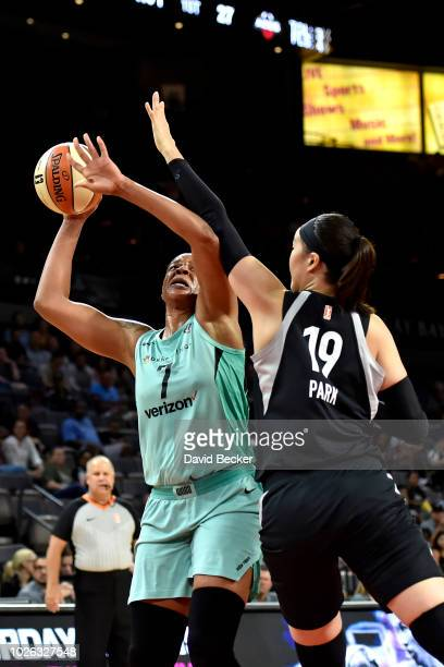 Kia Vaughn of the New York Liberty shoots the ball against the Las Vegas Aces on August 15 2018 at the Allstate Arena in Chicago Illinois NOTE TO...