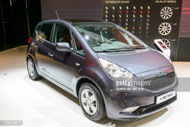 Kia Venga compact city car on display at Brussels Expo on January 13 2017 in Brussels Belgium The second generation Kia Venga is available 5door...