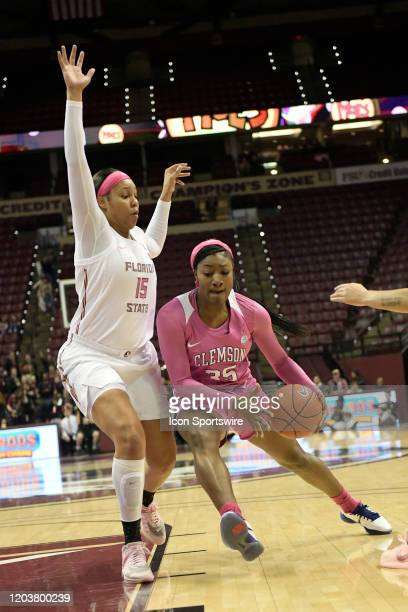Kiah Gillespie forward Florida State University Seminoles gets position on Nique Cherry forward Clemson Tigers Thursday February 27 at the Donald L...