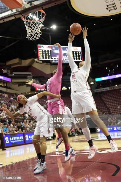 Kiah Gillespie forward Florida State University Seminoles grabs one of her 11 rebounds over Nique Cherry forward Clemson Tigers Thursday February 27...
