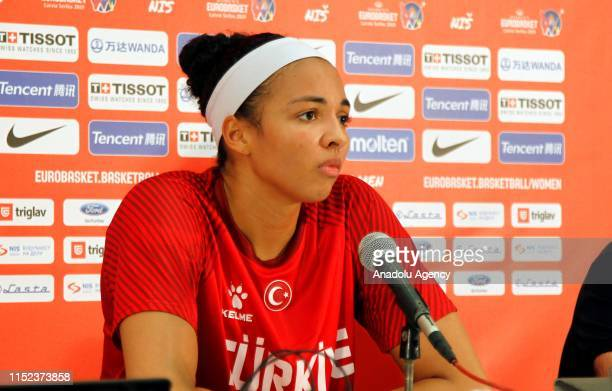 Kiah Irene Stokes of Turkey is seen during press conference after the FIBA Women's EuroBasket 2019 Group C match between Turkey and Italy at Cair...