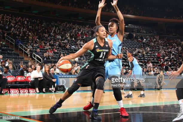 Kiah Stokes of the New York Liberty drives against the Atlanta Dream on June 7 2017 at Madison Square Garden in New York New York NOTE TO USER User...