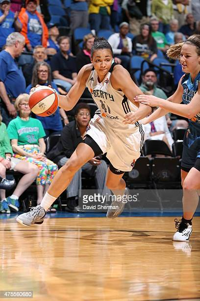 Kiah Stokes of the New York Liberty drives to the basket against the Minnesota Lynx on June 1 2015 at Target Center in Minneapolis Minnesota NOTE TO...